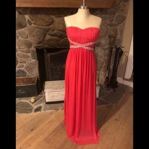 Trixxi Long Chiffon Dress PROM Size 7 NEW Coral